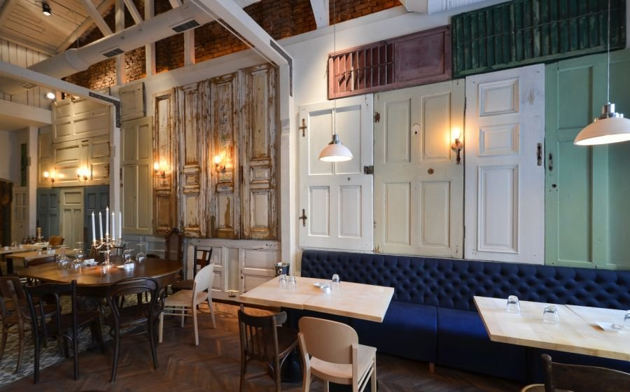 Restaurant Interior Made Out Of Salvaged Doors amp Windows